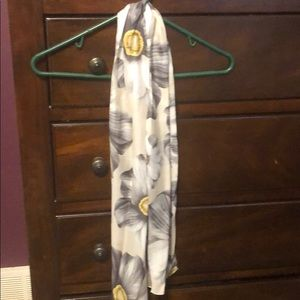 Silk scarf in grey and yellow by Echo